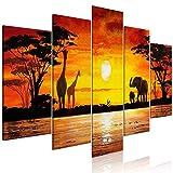 decomonkey Bilder Afrika Tiere 200x100 cm 5 TLG. Leinwandbilder Bild auf Leinwand Vlies Wandbild Kunstdruck Wanddeko Wand Wohnzimmer Wanddekoration Deko Elefant Giraffe Sonnenuntergang