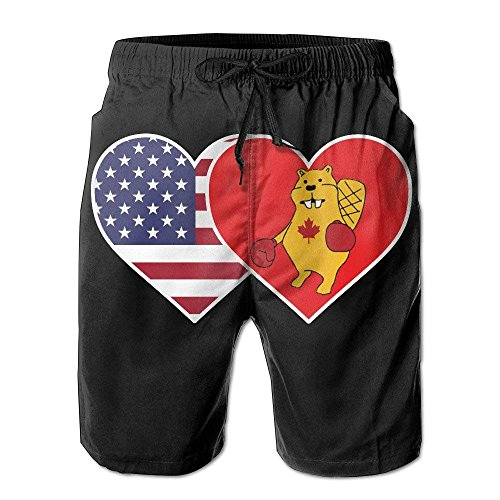 Doormats-shirt USA Flag Canada Boxing Beaver Summer Beach Board Shorts for Men Large