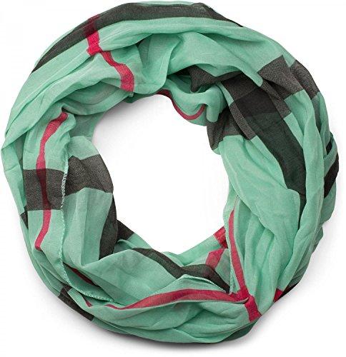 styleBREAKER Sciarpa a tubo con motivo a quadri, setosa e leggera, quadri, foulard, donna 01016110, colore:Verde menta
