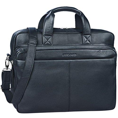 STILORD 'Verus' Vintage Ledertasche groß Aktentasche Laptoptasche Umhängetasche mit Reißverschluss und abnehmbaren Schultergurt Lehrertasche Leder, Farbe:schwarz -