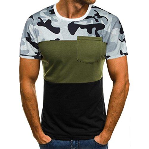 Cloom Herren Camouflage T-Shirt Herren Kurzarm T-Shirt Basic Shirt Crew Neck Sommer Casual Bluse Sommerhemd Komfort Streetwear Blusenshirt Sommerbluse Blusentop Mode Freizeit Oberteil (S, Grün) (Crew Line Grün)