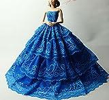 UK-36B Mode magnifique robe de soirée à la main pour la poupée Barbie robes / vêtements /robe de poupée (19)