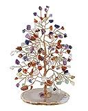 JSDDE Árbol de la Vida con Piedras de Cristal curativo con Base de ágata Natural, árbol de Dinero Feng Shui, Adorno Decorativo, 7 Chakra