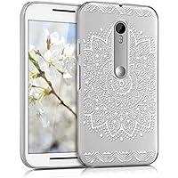 kwmobile Elegante e leggera custodia Crystal Case Design fiore per Motorola Moto G (3. Gen) in bianco trasparente