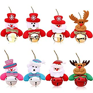 8 Piezas Campana Navidad Colgante para Muñecos áRbol Colgando Adornos del Santa Claus Muñeco de Nieve Elk Oso Regalo Juguetes Lindos