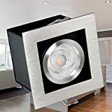 SSC-LUXon® Einbau-Strahler K1 kardanisch schwenkbar, Decken-Leuchte gebürstet mit 5W LED warm-weiß GU10 230V OSRAM SUPERSTAR DuoClick