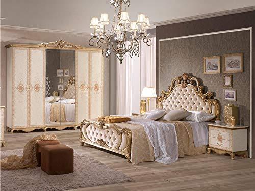 Schlichter® Schlafzimmer-Set Shirin, 7-teilig, Gold/weiß, Schrank (4-türig), Bett 160x200 cm, 2X Nachttisch, Kommode, Spiegel, Hocker