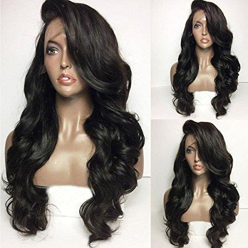 qd-tizer 1# Schwarz Farbe Haar Perücke lang gewellt Kunsthaar, Lace-Front gewellt Perücken für Mode Frauen 71,1cm
