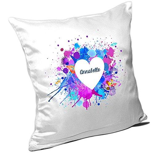 Kissen mit Namen Annabelle und schönem Motiv mit Wasserfarben-Herz zum Valentinstag - Namenskissen - Kuschelkissen - Schmusekissen -