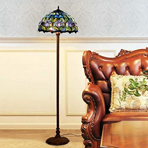 DSHBB Bodenbeleuchte, 16 Zoll Blaue Tulpen-Tiffany-Stehlampe mit Glaslampenschutz, Moderne Bright Leselampe für Wohnzimmer, Büro, E27*2 40W -