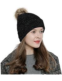 Damen Winter Mütze Bommelmütze farbig mit silber
