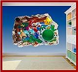 Super Mario Brothers 2Art Wand Loch bedruckt Vinyl Aufkleber Aufkleber Kinder Schlafzimmer (ss40016), Large 600 x 425mm