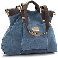 LOSMILE Bolsos de mano para mujer, Bolso de Bandolera Totes Shopper Viajar Hobo de Lona. (azul)