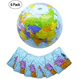 Winko 6 Pack 16 Inch Inflatable World Globe Beach Balls Globe for Educational Beach Playing(Light Blue)