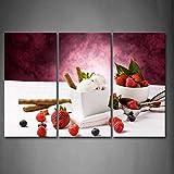 Weiß Eis mit vaious Berry Wand Kunst die Bild Kunstdruck auf Leinwand Nahrung Bilder für Home Decor Dekoration Geschenk
