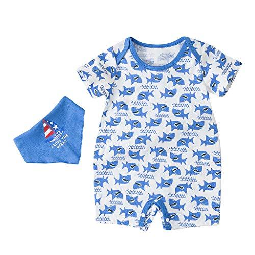 Unisex Kinderbekleidung,ODRD Clearance Sale Neugeborene Kinder Jungen Mädchen Shark Cartoon Strampler + Pinafore Outfits Kleidung Kinder Kleinkind Kleidung Body Babyschlafsack Kleinkind Sommer