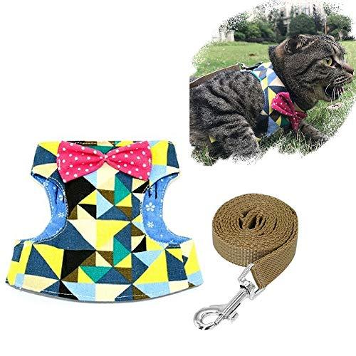 undegeschirr und Leine, Set mit süßem Punktemuster, modisches Hundegeschirr für kleine mittelgroße Hunde Welpen Katzen Kätzchen, Medium, grün ()