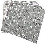 TOPINCN Cotone Tessuto Patchwork Quilting Tessuto di Cotone Suite di Letti Pre-Tagliati con Piazze Assortiti Scrapbooking per Cucire Fai da Te Quilting Set 7pcs 50 * 50cm(Grey)