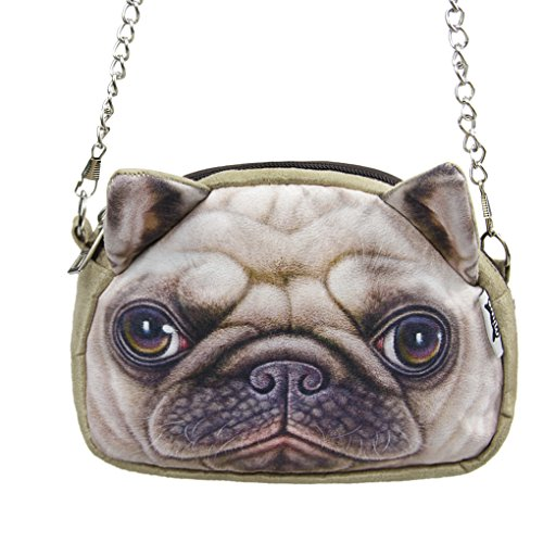 Liying Neu Cartoon Umhängetasche Handstasche Schultertasche Messenger Bag Trage Tasche Geldbeutel Reisetasche Handytasche Hunde Klein Tasche Braun