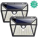 Luce Solare Led Esterno, Ekrist 118 LED Lampade Solari Led Esterno con Sensore di Movimento 270ºIlluminazione Lampada Solare Luci Solari Esterno Energia Solare Impermeabile con 3 Modalità-2 Pezzi