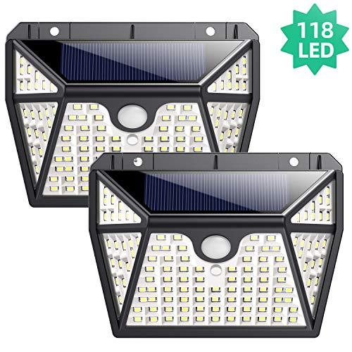 Solarlampen für Außen, Ekrist【Hohe Helligkeit 5 Seiten Beleuchtung】118 LED Solarlampe mit bewegungsmelder, 【2200mAh】Wasserdicht Solarleuchten für Außen mit 3 Intelligente Modi (2 Stück)