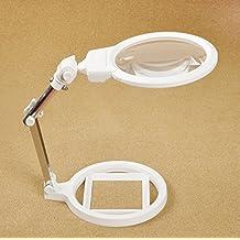 2x 6x LED lupa lupa lupa lectura joyas evaluación de sobremesa de escritorio y banco de pie lupa amplio campo
