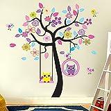 Wandaro W3035 Wandtattoo Baum Schaukel Eulen I Mehrfarbig 160 x 170 cm I Kinderzimmer Selbstklebend Kinder Baby Wandaufkleber Aufkleber Wandsticker