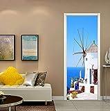 Porte Autocollants 3D Moulin à vent méditerranéen Amovible Poster De Self-Adhesive...