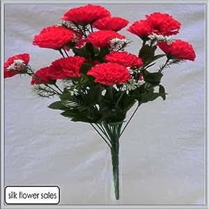 fleurs artificielles rouge en soie x 18 pour mariage tombe vase cuisine maison. Black Bedroom Furniture Sets. Home Design Ideas