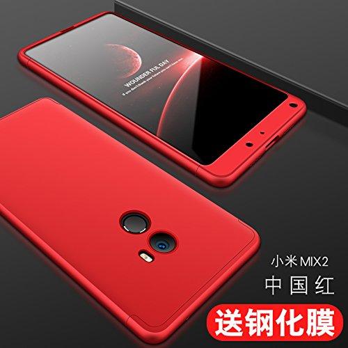 hyujia Compatible Xiaomi Mix 2 Funda(2018) Carcasa 360° Ultra Fina Protectora cojín+Vidrio Templado Pantalla Protector,3 in 1 PC Hard Caja Caso Skin Case Cover Carcasa para Xiaomi Mix 2 Rojo