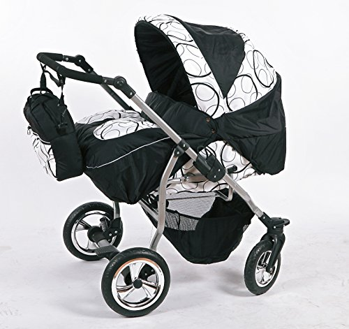 Zwillingskinderwagen mit viel Zubehör in 12 Farben und Räder zur Auswahl (Design 3)