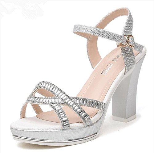 Estate moda donna sandali comodi tacchi alti,37 rosa super tacchi alti 12cm Silver