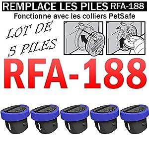 Lot DE 5 Piles SB-188 Compatible PETSAFE RFA-188 3V Lithium 160mAh SB-188   REMPLACE Les Piles RFA-67   pour Collier PETSAFE   Anti-Fugue   Anti-ABOIEMENT   Dressage ETC.   ACCU Batterie Battery