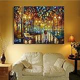 LED su tela cornice Stampa artistica di pioggia via fibra scintillazione pittura decorativa camera da letto / soggiorno / ristorante Luci Video , 50*70
