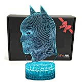 LED Superhero 3D Optische Illusion Smart Nachtlicht Tischlampe mit USB-Stromkabel in 7 Farben batman