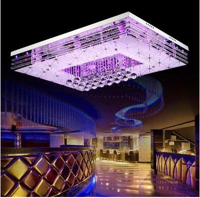 LFNRR Hochwertige LED-Licht rechteckige Kronleuchter decke Beleuchtung fürs Schlafzimmer Das Wohnzimmer Restaurant ist minimalistisch atmosphärischen Beleuchtung Farbe leuchten, + LED 50 X 50 cm Farbe Fernbedienung Licht, LED-Leuchte warmes Licht