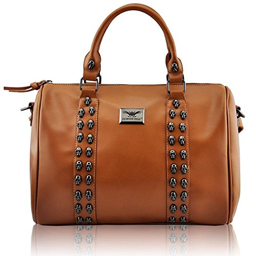 Trendstar Damen Entwerfer Schnappen Lächeln Kunstleder Promi Stil Stilvolle Tote Handtaschen (J - Bräunen) (Handtasche Kunstleder Braune)