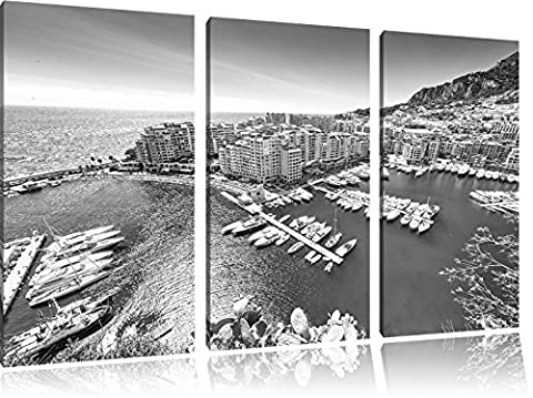Stunning coast of Monaco Art B & W 3-piece canvas picture 120x80 image on canvas, XXL huge Pictures completely framed with stretcher, art print on mural frame gänstiger as painting or an oil painting, not a poster or