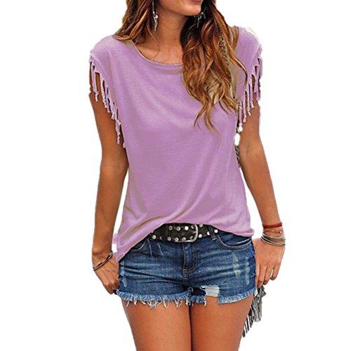 WanYang Nappa Tshirt T-shirt Casuale a Maniche Corte Tee Camicetta Superiore Viola