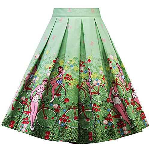 Frashing Damen Mädchen Faltenrock Kleid mit Volant Mit Blumen Bedruckt grün A-Line Rock Festliches Kostüm Midi-Rock Knielanges ()