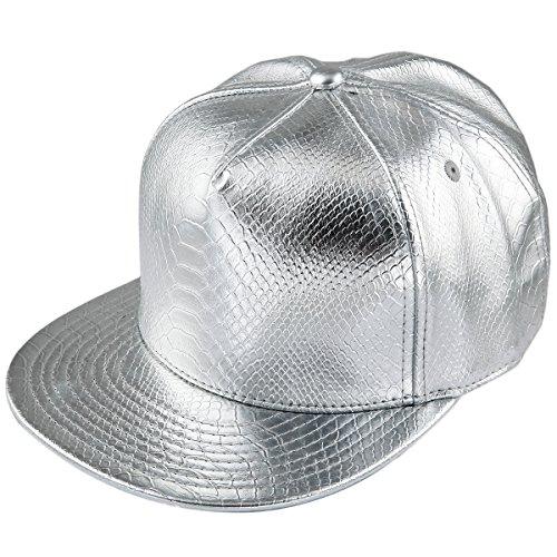 6dfd8851b81650 KYEYGWO PU Leather Silver Baseball Cap for Men Women, Adjustable Flat  Snapback Unisex Hip Hop