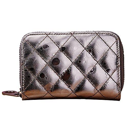 GSPStyle monete da donna in cuoio, Borsa Business a portafogli con porta carte di credito, Oro (Oro) - 006972 grigio