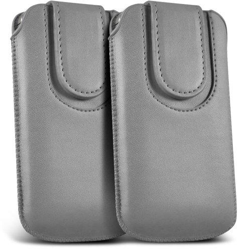 Nokia Lumia 929 Icon Premium Schutz PU-Leder Magnetischer Button Lasche Schnur rutschen in der Tasche Tasche Skin Cover Quick Release (Twin Pack) Grau von Fone-Case -