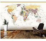 Rureng Benutzerdefinierte Kinder Tapete Politische Weltkarte Vintage Farben 3D Cartoon Wandbilder Für Kinderzimmer Wohnzimmer Vinyl Tapete-280X200Cm