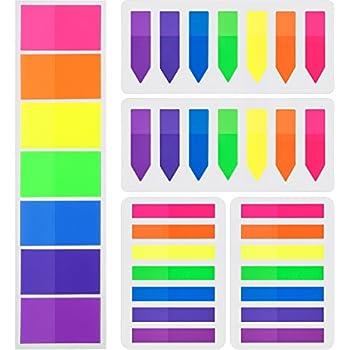 4 Sets 560 St/ück Index Etiketten Transparente Tabs Flaggen Aufkleber Neon Farbe Seitenmarkierer Fluoreszierend
