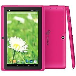 Yuntab Q88 7 Inch Allwinner A33,1.5 Ghz Quad Core Google Android Tablet PC,512MB+8G,Dual Camera,WiFi,Bluetooth,Mini USB,G-Sensor,Support SD/MMC/TF Card (Rosa)