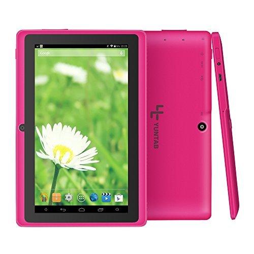 Yuntab Q88H - 7 Zoll Tablet PC,Android 4.4, Quad Core, HD 1024x600, Dual-Kamera, Bluetooth, WI-Fi, 8GB, 3D Spiel Unterstützte Rosa (2500 Series Notebook)