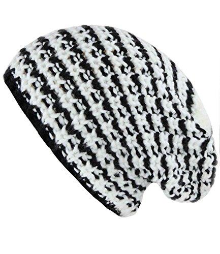 caripe unisex Strick Mütze Long Beanie - lb55 (HWN-601 - schwarz-weiß) (Streifen Strickmütze)