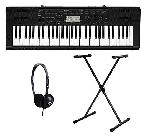 Casio CTK-3500 Keyboard Set (61 Tasten, 48-fach polyphon, Dance Music Mode, Begleitautomatik, inkl. Keyboardständer und Kopfhörer) Schwarz