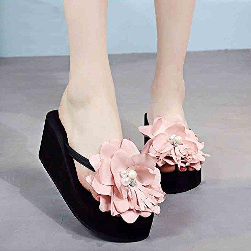 LIXIONG Portable 3cm / 7cmFleurs mondes d'été fleurs perles Chaussures de plage Sandales et pantoufles de vacances (Noir / Beige / Marron / Gris) -Chaussures de mode ( Couleur : 7CM Brown , taille : E 7CM Black